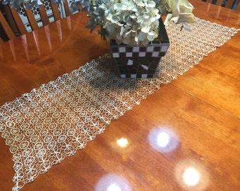 Vintage Ivory Ecru Hand crochet lace table runner dresser scarf for housewares, home decor, vases, flowers by MarlenesAttic