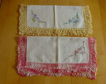 2 Vintage Ladies' Hankies, Hanky, Handkerchiefs, Embroidered Mother, Pink, Yellow Crocheted Edges