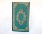Unique Guest Book Wedding, Book Journal, Literary Guestbook, Custom Vintage Blank Book, Gift for Writer, Handbound Green Guestbook Keepsake