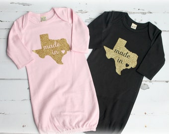 Made in Texas Tx baby gown baby shower gift