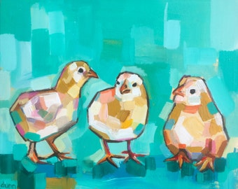 Three Chicks, fine art print & original oil painting