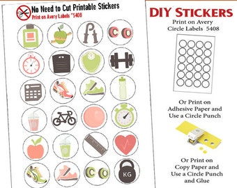 SALE 1.50! Exercise Icons No Cut Needed Printable Planner Stickers Sneakers, Bike, Water Bottle, Scale, Print On Avery Label 5408