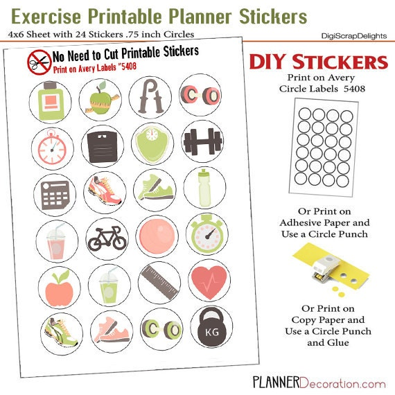 SALE 1.50 Exercise Icons No Cut Needed Printable Planner