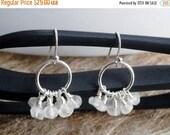 50% OFF Quartz earrings - crystal quartz - cluster earrings - silver hoop earrings - rock crystal hoops - bridal earrings - crystal earrings
