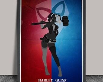 Harley Quinn print,  Minimalist , Movie Poster, Art Print,Wall Art Illustrations, Wall art, Artwork, DC comics poster, Gift,Christmas Gift