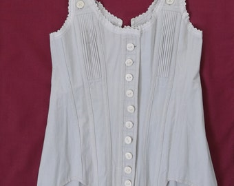 Reform Corset Antique Vintage in Twill with Bone Buttons - Rare