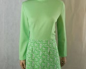 Cool 60s/70s Vintage Lime Green  Texture Detail Mod/Scooter Dress