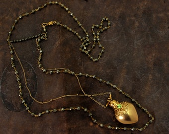 Perfume Bottle Necklace. Snuff Necklace. Opens and closes. Talisman Amulet Necklace. 22k Gold Vermeil or Sterling Silver.