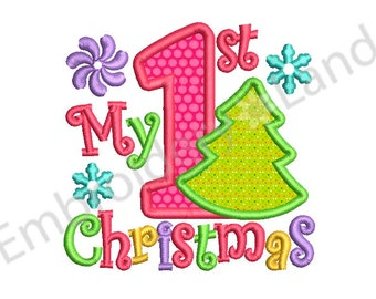 My first Christmas Applique Machine Embroidery Design CHR048