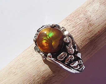 Mexican Fire Agate Sterling Silver Ring Size 10.25