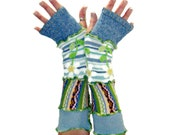OOAK Arm Warmers, Upcycled Arm Warmers, Upcycled Clothing, Long Arm Warmers, Daisy Arm Warmers, Boho Arm Warmers, Fingerless Gloves