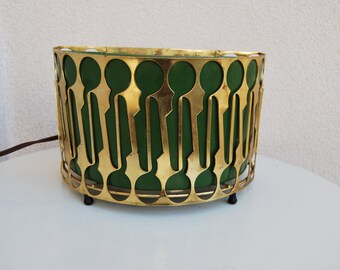 Vintage Portable lamp brass green ceramic by Sierra Columbia Pasadena CA 6'x9'