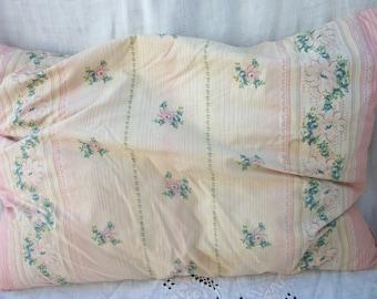 Cottage Feather Pillow ~ Pink ~ Stripes & Flowers ~ Primitive ~ Vintage Rual Farmhouse Chic Ticking / Orginal Content Tag ~ Turkey