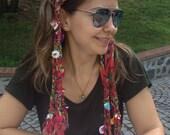 Turkey Turkish oya scarf/Bridesmaid gifts/Belt,Headband,Dreadlocks, colorful, handmade braided scarf, Crochet fringe woman scarf scarves2012