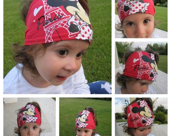 Minnie mouse head band bandana for girls - Childs headband Age 2 4 6 8 10 12 yrs - summer holiday beach clothes- little girls wear