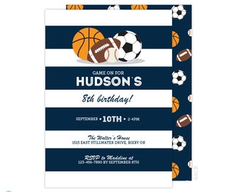 Sports Birthday Invitation -  Baseball Invitation - Football Invitation - Basketball Invitation - Boy Birthday Invitation - Printable invite