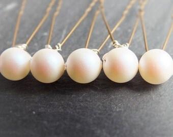pearlescent white pearl hairpins , set of  5, 8mm swarovski pearl hair pin, powder rose wedding hair, brides brides maid prom