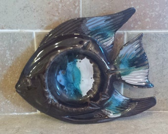 Vintage Pottery fish ash tray, candy or  trinket dish decorative dish