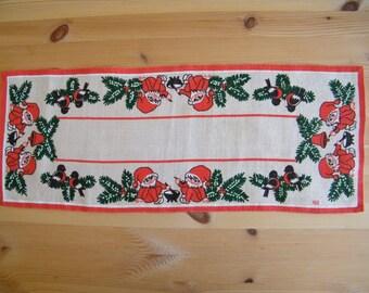 Vintage Swedish Christmas Small Table Runner -  Print on Jute burlap - Christmas gnomes and robins - Hill signed
