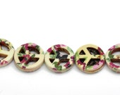 1 Strand Floral Peace Sign Howlite Beads - 15mm - Beading, Bracelet Bead, Jewelry Finding Jewelry Making Supplies, Ships from the USA - B39