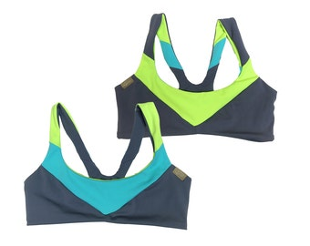 "The ""Margo"" REVERSIBLE  Colorblocked Sport Bikini TOP"