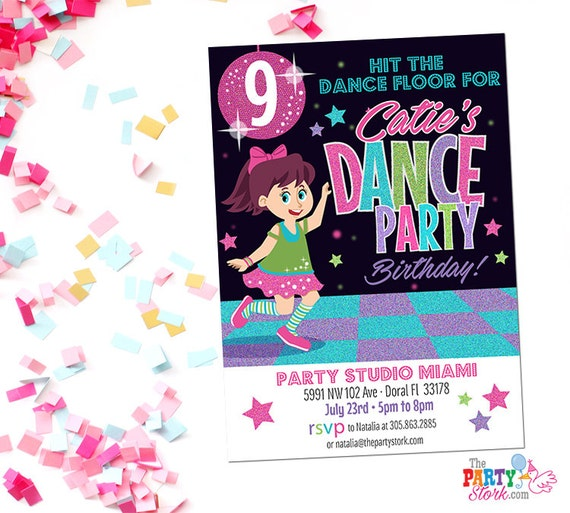 Dance Party Invitation Printable Birthday Invitations for Girl