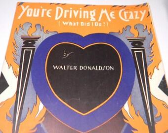 You're Driving Me Crazy, 1930 Sheet Music, Walter Donaldson, Great Graphics, Ephemera