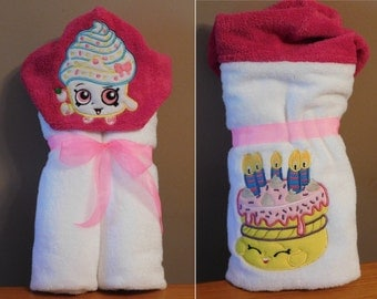Shopkins Cupcake Queen Hooded Towel - Free Personalization