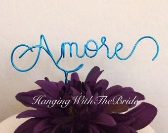 Amore Custom Cake Topper - Wedding Cake Topper, Hitched, Wire Cake Topper, Personalized Cake Topper, Unique Wedding Gift