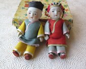 Japanese Bisque Porcelain Jointed Dolls Asian Dress Original Clothes & Box 1930s Excellent Condition Marked Japan 3 1/2 Inch