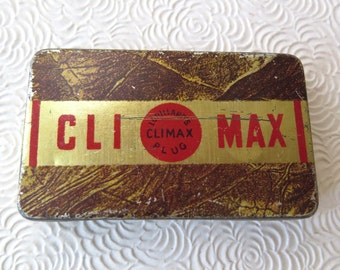 Climax Tobacco Vintage Hinged Tin Unique Gift Card Box Surprise Proposal Red Gold 1950s