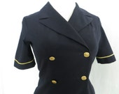 RESERVED - Vintage 80s stewardess uniform, flight attendant, Continental Airlines, double breasted dress, navy blue, stewardess costume