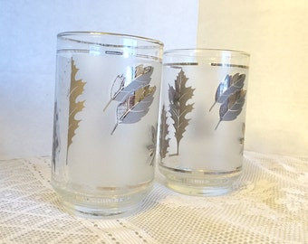 Vintage Silver Leaf Juice Glasses by Libbey / Clear Frosted Water Glassware