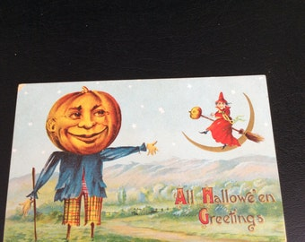 1909 Halloween Postcard Embossed With and Pumpkin Scarecrow