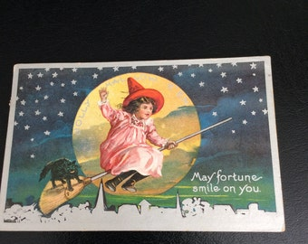 1919 Halloween Vintage Postcards Girl on Witches Broom