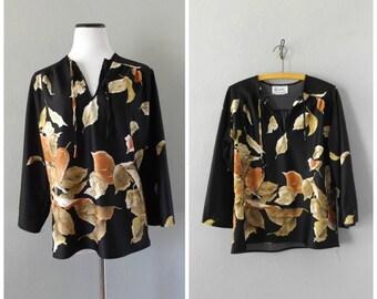 golden leaf 70s tunic blouse | vintage black bell sleeve hippie boho dress tops size m/medium oversize hippy shirts 1970s bohemian grunge