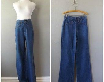 denim bell bottom jeans   vintage 70s high waist blue jeans size s/small 27 W hippie boho wide leg trousers hippy dresses 1970s pants blouse