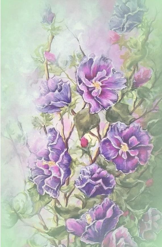 Purple Hibiscus Backyard Snob : flower garden purple hibiscus rose of sharon floral canvas art