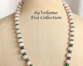SALE Pastel necklace with faceted light pink rose quartz and green turquoise stones, light soft pink stone necklace