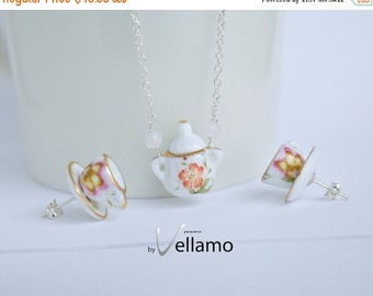 SALE Delicate sterling silver miniature tea set jewelry, post earrings with teacups and necklace with sugar pot and moonstones, colorful flo