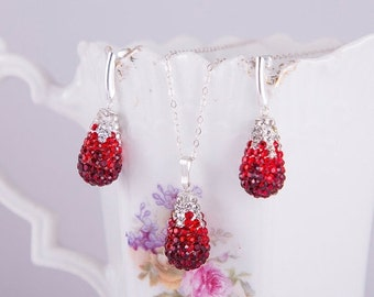 SALE Red teardrop shape swarovski pave sterling silver stud earrings and pendant with sterling silver necklace, crystal, red and dark red