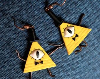 Bill Cipher, Medium, Gravity Falls Inspired Earrings