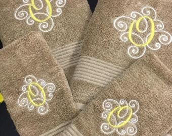 1 set of 2-color Monogrammed towels