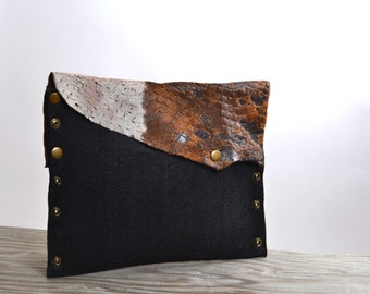 Cowhide Leather Clutch - Felt and Leather Clutch - Women's Clutches - OOAK Large Clutch - Women's Accessories
