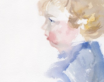 Commissioned Child Portrait painting, Original watercolor, toddler portrait, baby painting