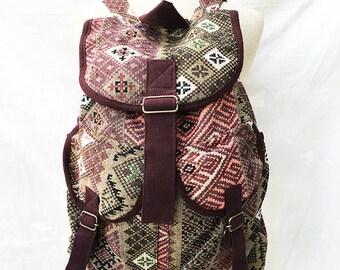 Handmade Tribal Rucksack, Tribal Aztec Backpack