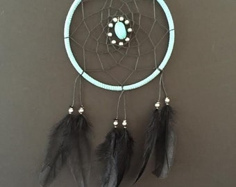 Blue, Black, and Black Feathers Small Dream Catcher