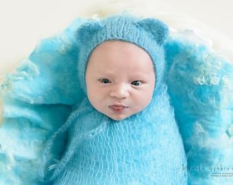 Newborn Bonnet, Mohair Bonnet, Bear Ears Hat, Newborn Wrap, Lace Blanket, Lace Mohair Wrap in Baby Blue, RTS, more colors