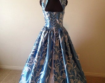 Pale Blue and white Fantasy Renaissance Over Gown Dres Ready 34bust 28 waist
