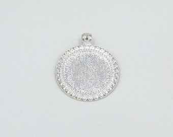 10 1 inch Sunflower Pendant Trays bezels, blank pendants cabochon setting 25mm